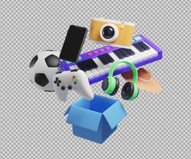Ilustração 3d de objetos de entretenimento