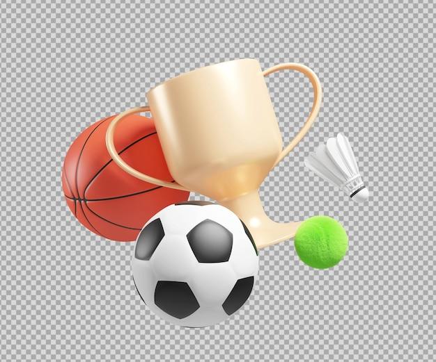 Ilustração 3d de objetos esportivos