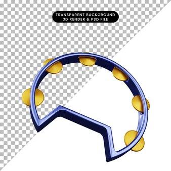 Ilustração 3d de pandeiro instrumental de música de objeto simples