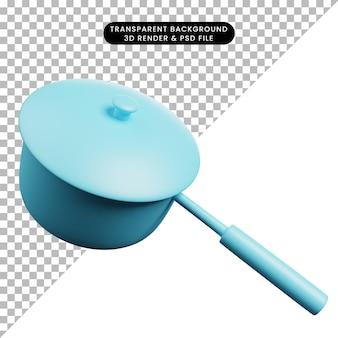 Ilustração 3d de panela para utensílios de cozinha