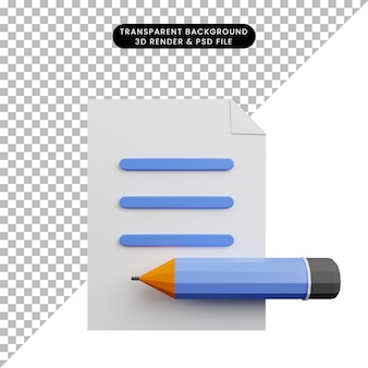 Ilustração 3d de papel com lápis