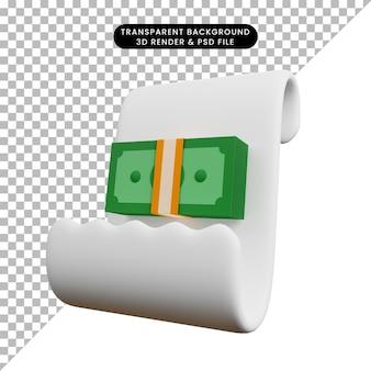 Ilustração 3d de papel de conceito de pagamento com esconderijo de dinheiro