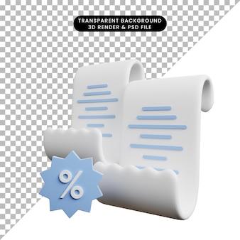 Ilustração 3d de papel de conceito de pagamento com ícone de desconto