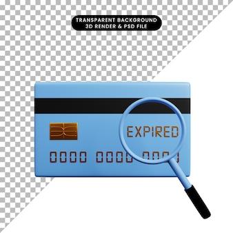 Ilustração 3d de papel de ícone de conceito de pagamento com cartão de crédito com ampliação expirada