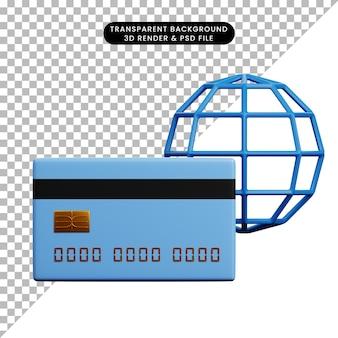 Ilustração 3d de papel de ícone de conceito de pagamento com cartão de crédito e globo