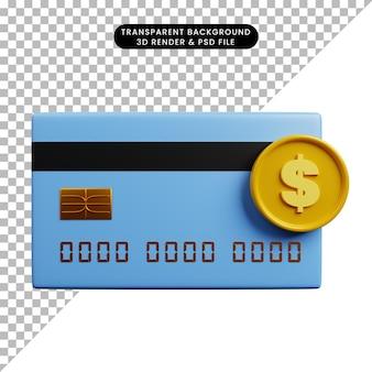 Ilustração 3d de papel de ícone de conceito de pagamento com cartão de crédito e moeda