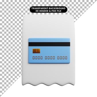 Ilustração 3d de papel de ícone de conceito de pagamento com cartão de crédito