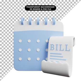 Ilustração 3d de papel de ícone de conceito de pagamento com conta e calendário