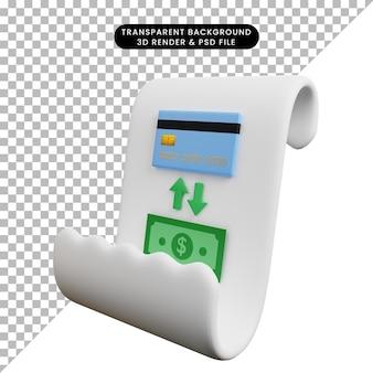 Ilustração 3d de papel de ícone de conceito de pagamento com dinheiro de troca de cartão de crédito no papel