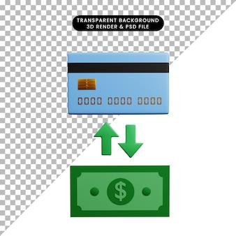 Ilustração 3d de papel de ícone de conceito de pagamento com dinheiro trocado por cartão de crédito
