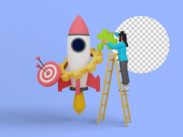 Ilustração 3d de pessoas iniciando um projeto de negócios para a página de destino