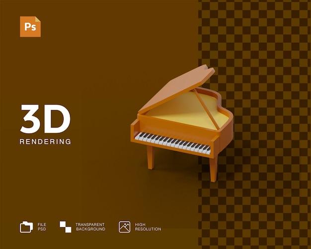 Ilustração 3d de piano Psd Premium