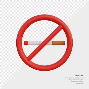Ilustração 3d de placa de proibido fumar