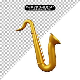 Ilustração 3d de saxofone de instrumento musical de objeto simples