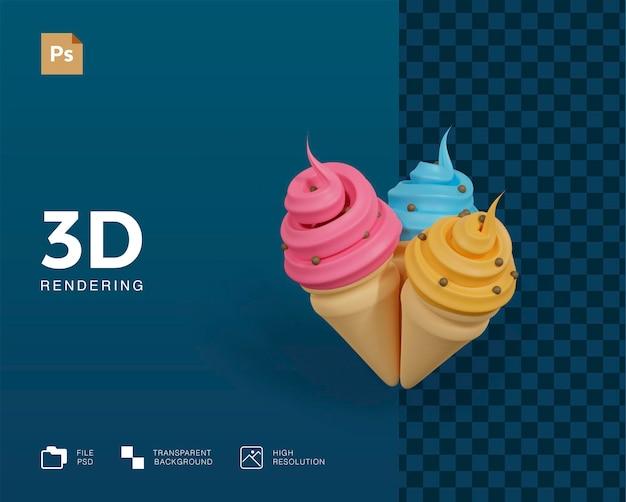 Ilustração 3d de sorvete