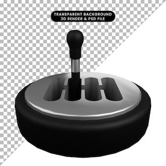Ilustração 3d de troca de material de peças automotivas