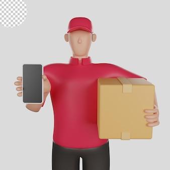 Ilustração 3d de um entregador de camisa vermelha segurando uma mercadoria do cliente psd premium
