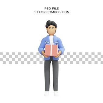 Ilustração 3d de um homem carregando uma caixa de presente de aniversário premium psd