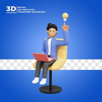 Ilustração 3d de um homem pensando em uma ideia premium psd