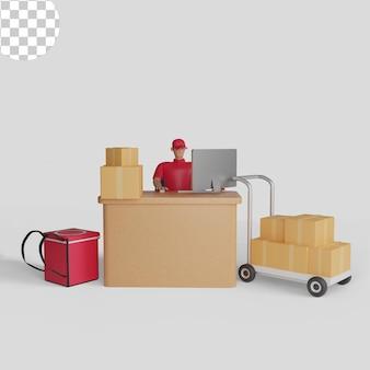 Ilustração 3d de um homem verificando mercadorias a serem enviadas, entrega de mercadorias. psd premium
