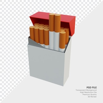 Ilustração 3d de um maço de cigarro