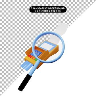 Ilustração 3d de um objeto simples, ampliando a foto para a máquina edc