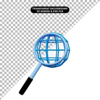 Ilustração 3d de um objeto simples ampliando o ícone do globo