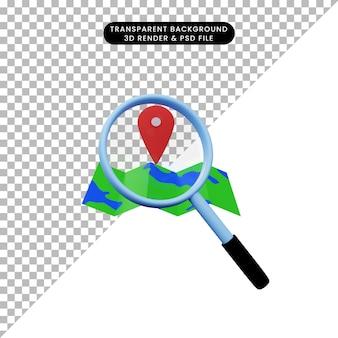 Ilustração 3d de um objeto simples, ampliando o ícone do mapa