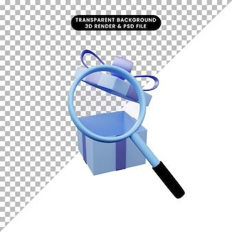 Ilustração 3d de um objeto simples, ampliando o tiro para abrir o presente