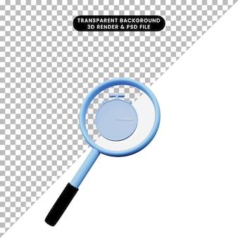 Ilustração 3d de um objeto simples, ampliando o tiro para o ícone do relógio