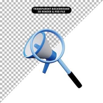 Ilustração 3d de um objeto simples, ampliando o tiro para o megafone