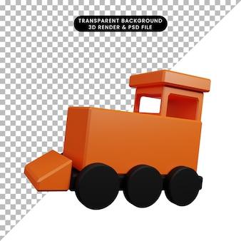 Ilustração 3d de um objeto simples para crianças, trem de brinquedo