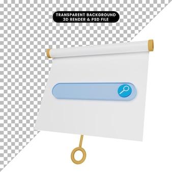 Ilustração 3d de um quadro de apresentação de objetos simples ligeiramente inclinado com o mecanismo de pesquisa
