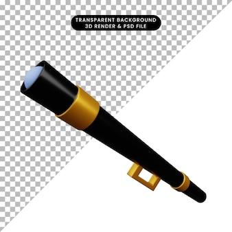 Ilustração 3d de um telescópio ou binóculo de objeto simples