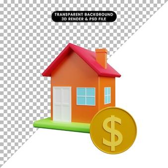 Ilustração 3d de uma casa de objeto simples com moeda