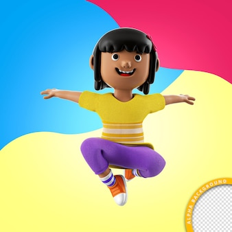 Ilustração 3d de uma criança brincando para a composição do psd para o dia das crianças