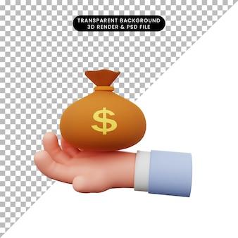Ilustração 3d de uma mão segurando um saco de dinheiro