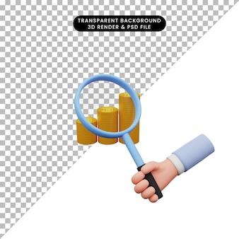 Ilustração 3d de uma mão segurando uma lupa na pilha de moedas