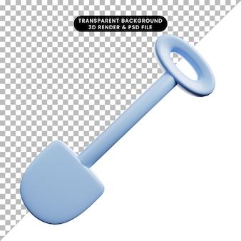 Ilustração 3d de uma pá de objeto simples