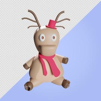 Ilustração 3d de uma rena de natal com lenço e chapéu vermelhos