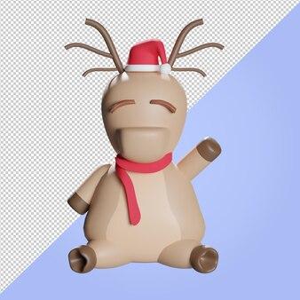 Ilustração 3d de uma rena de natal com lenço vermelho e chapéu de natal