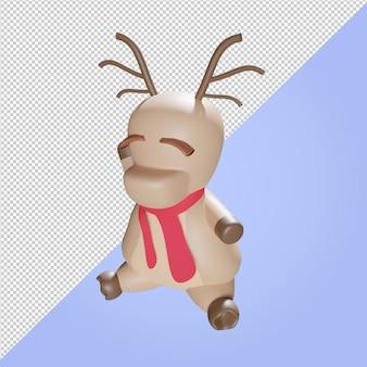 Ilustração 3d de uma rena de natal com lenço vermelho