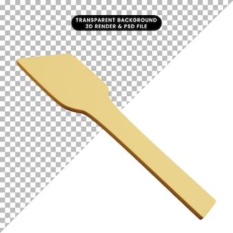 Ilustração 3d de utensílios de cozinha colher madeira de arroz