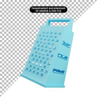 Ilustração 3d de utensílios de cozinha com queijo ralado