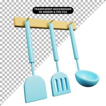 Ilustração 3d de utensílios de cozinha conjunto de espátula
