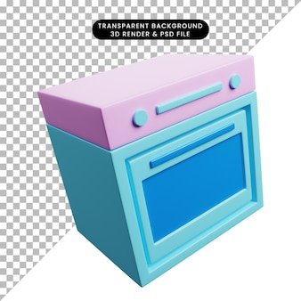 Ilustração 3d de utensílios de cozinha para forno