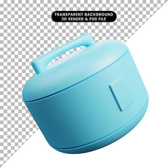 Ilustração 3d de utensílios de cozinha para panela de arroz
