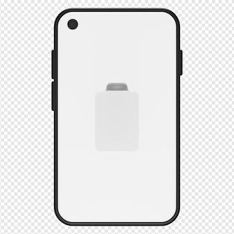 Ilustração 3d de zero por cento do ícone de bateria do telefone psd
