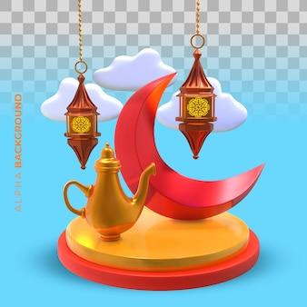 Ilustração 3d. decoração islâmica de ano novo com elementos tradicionais