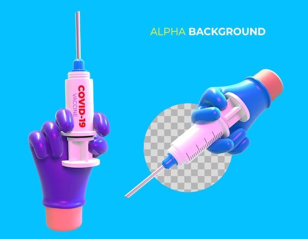 Ilustração 3d definida para campanha de vacinação